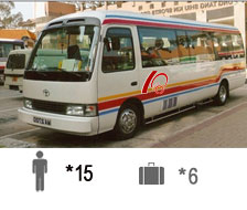 15-Passenger Toyota Coaster Bus Coach Bus / Kowloon, Hong Kong   / Hourly HKD 1,540.00  / Airport Transfer HKD 2,500.00